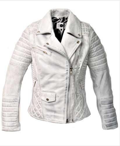 GENUINE Leather Jacket USED LOOK White for Women