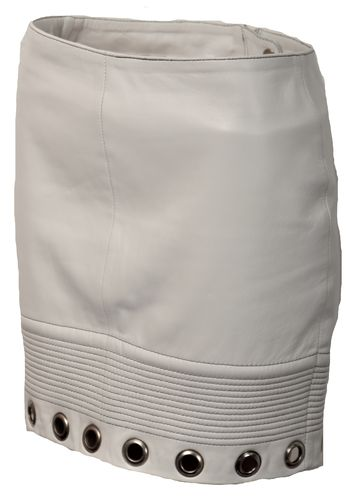 Leather Skirt GENUINE Leather - White With Rivets