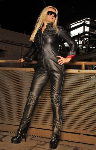 Jumpsuit Catsuit REAL LEATHER in Black