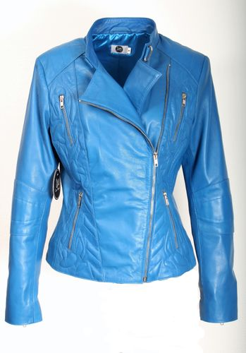 Elegant Leather Jacket GENUINE LEATHER Design Sylt- blue