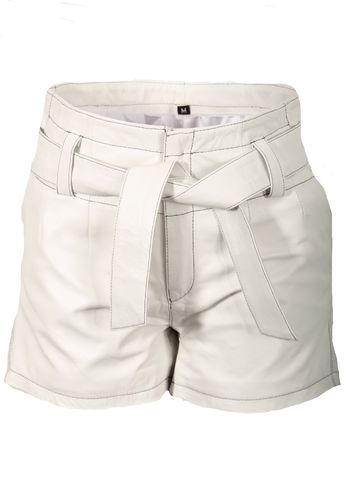 Leather Shorts With Belt in GENUINE Leather Elegant White and Black