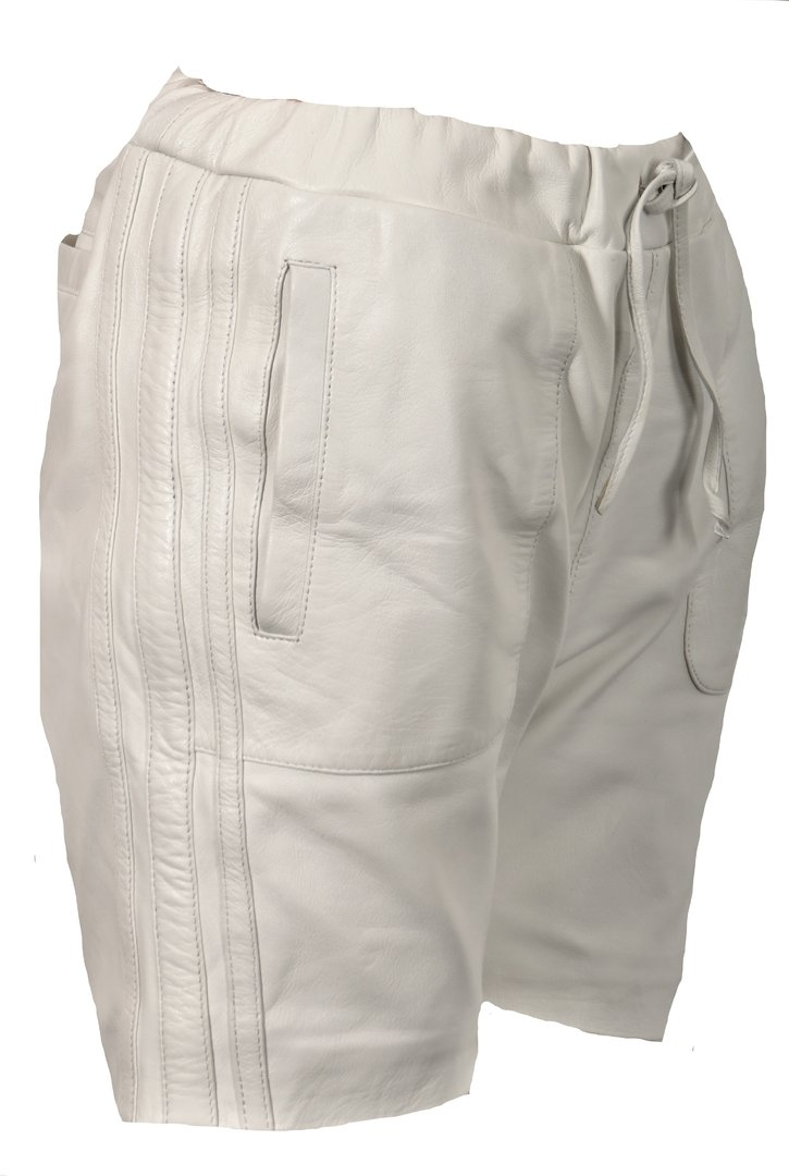 Leather Sport Shorts Made of GENUINE Leather in White