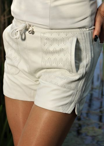 Leather Sport Shorts Made of GENUINE Leather White
