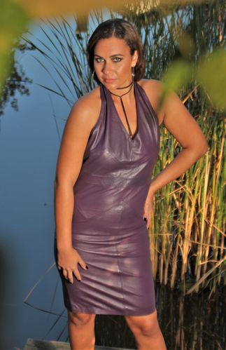 Backless Leather Dress in GENUINE Leather in purple