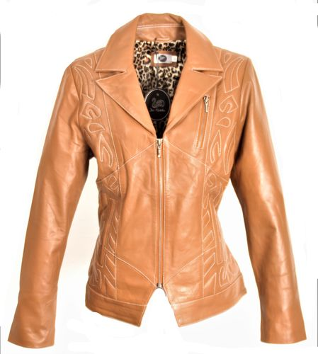 GENUINE LEATHER Jacket with Stitching elegant in Cognac