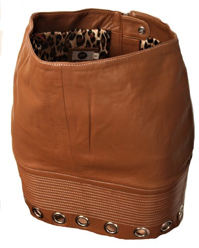 Leather Skirt GENUINE Leather - Cognac With Rivets