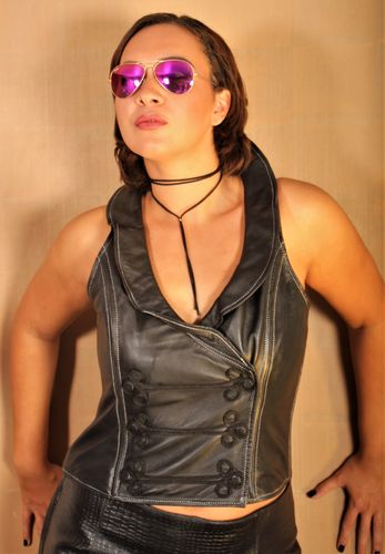 GENUINE LEATHER vest / top with design collar black