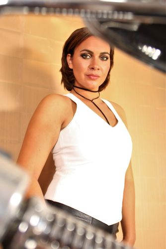 Leather Top in GENUINE LEATHER in White