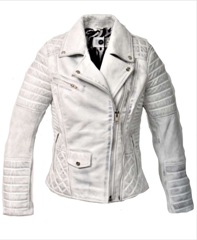 Lederjacke aus ECHT Leder USED LOOK weiß für Männer