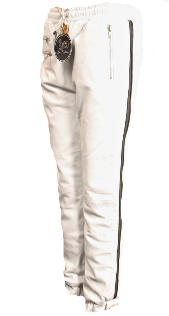Leather Jogging Trouser in REAL Leather with Side Stripes for Men