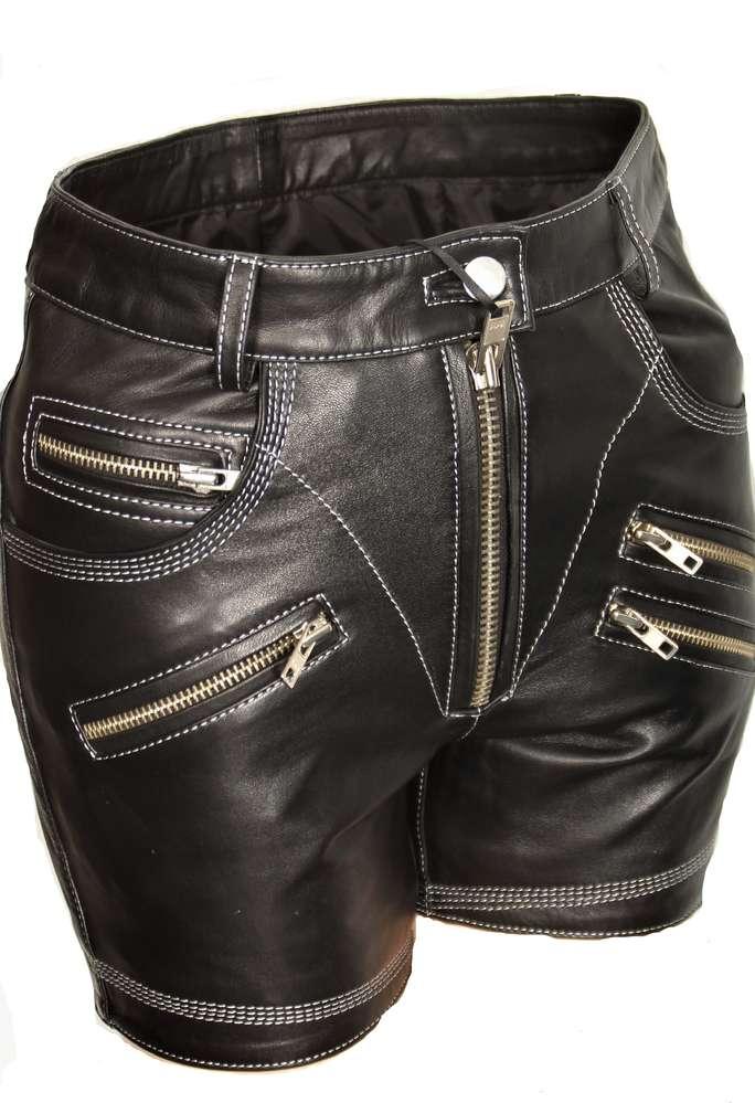 Leder-Short ECHTLEDER kurz in schwarz für Männer - BE NOBLE 6b437f11b0