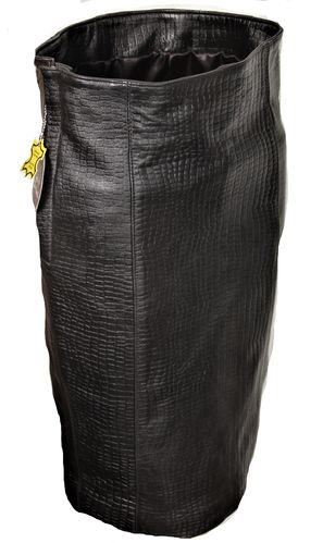 Leather Pencil Skirt in Genuine Leather Crocodile Style