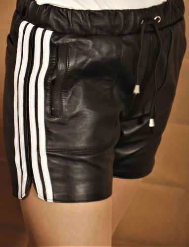 Leather Sport Shorts Made of  GENUINE Leather Black