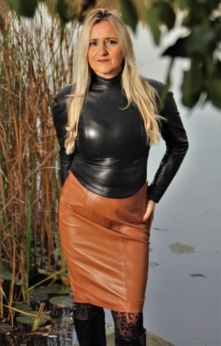 Leather Pencil Skirt Made of GENUINE Leather in Cognac