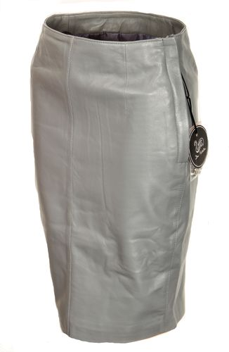 Leather Pencil Skirt Made of GENUINE Leather in Gray