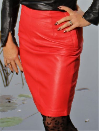 Leather Pencil Skirt Made of GENUINE Leather in Red