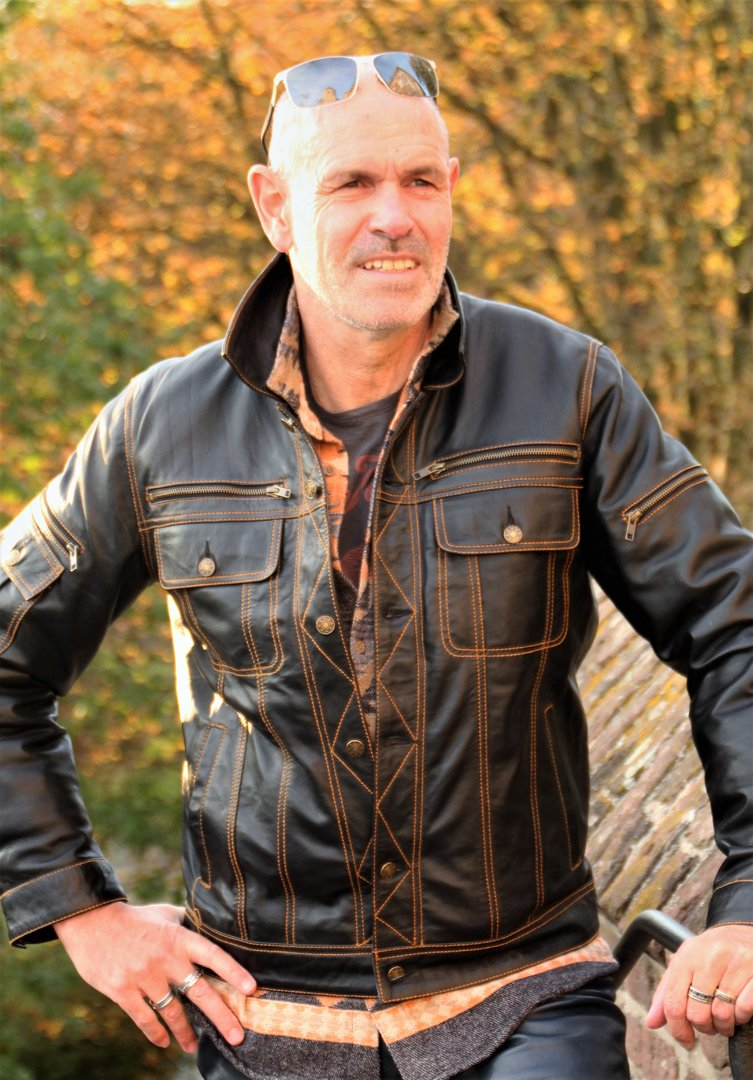 Leather Jacket in Denim Style Genuine Leather in Black and Dark Blue
