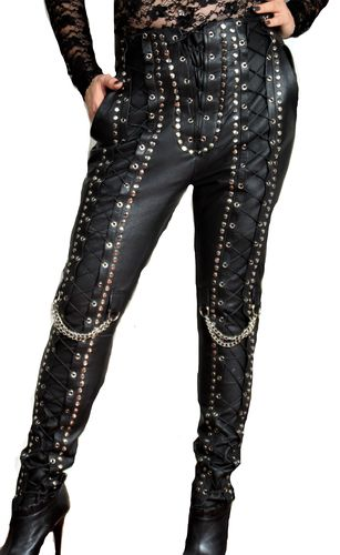 Leather trousers in genuine leather with lacing and rivets