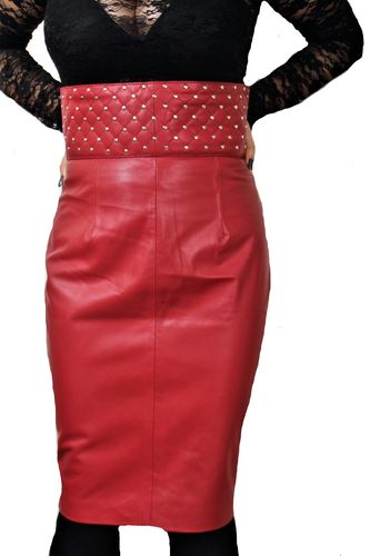 Leather High Waisted Skirt in genuine leather in dark red