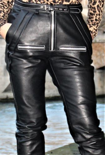 Leather jogging trousers in high waist GENUINE LEATHER