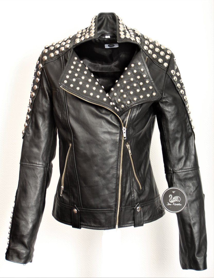 Leather Jacket - Biker Leather Jacket with Rivets in Black