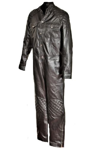 GENUINE LEATHER Jumpsuit Catsuit - Black
