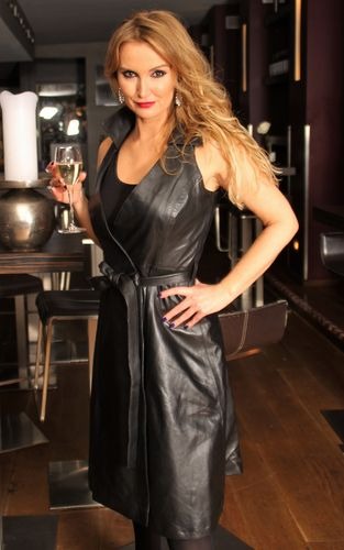 Leather Dress as wrap dress in GENUINE LEATHER in black