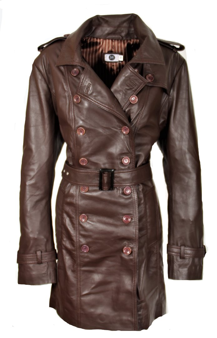 Trench coat as genuine leather leather coat dark brown for men
