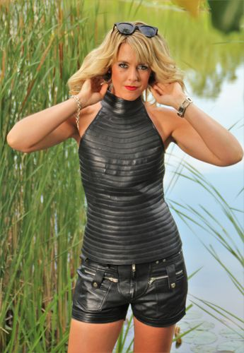 GENUINE Leather Top in  With Stand-up Collar in Black