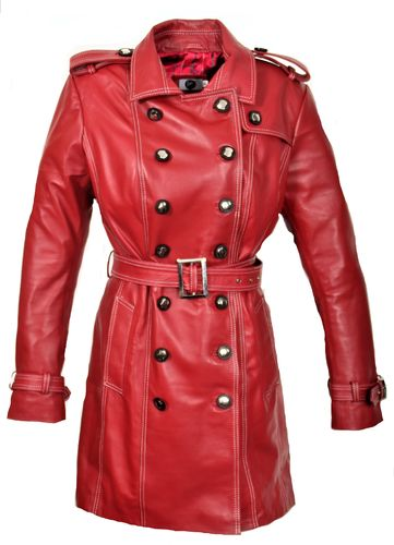 Trench Coat GENUINE LEATHER Coat in dark red