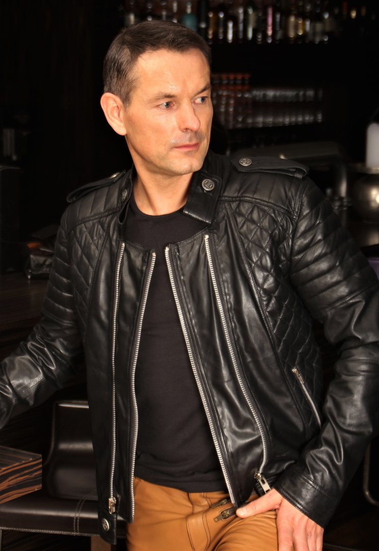 Biker Leather Jacket in GENUINE LEATHER Lamb Nappa for men