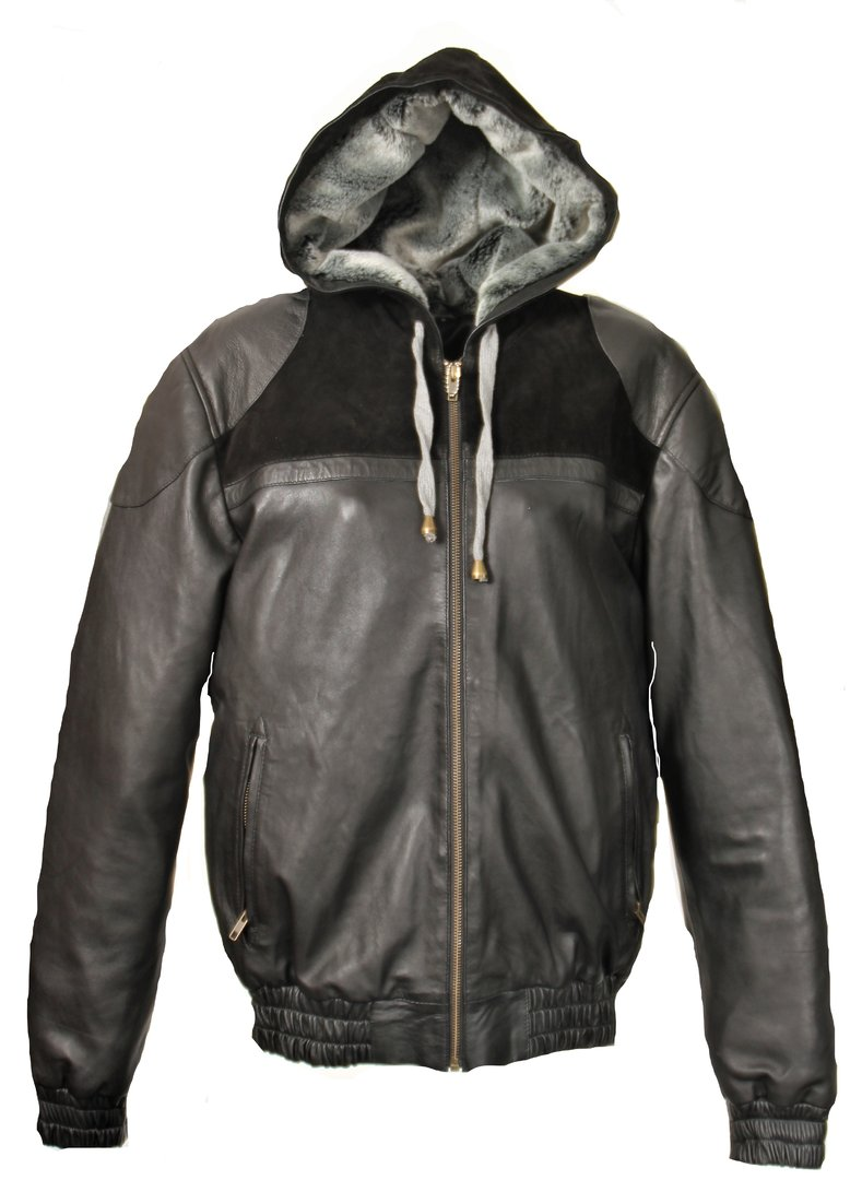 Hoodie - Jacket in Genuine soft Leather with hood