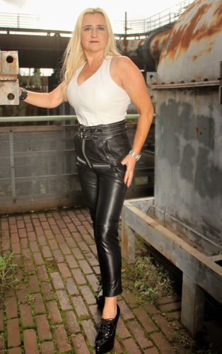 Leather trousers REAL LEATHER with high waist