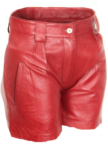 Leder-Shorts Hot Pants in ECHT-LEDER im ELEGANTEN Style in rot