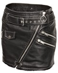 Leather mini skirt in soft genuine black leather