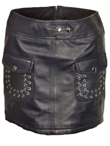 Leather skirt in soft genuine leather with pockets -