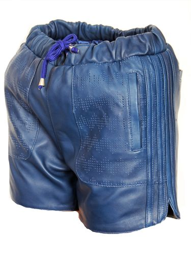 Leather Sport Shorts Made of GENUINE Leather Blue