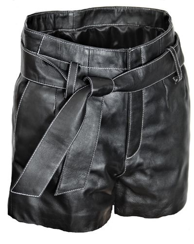 Leather Shorts With Belt in GENUINE Leather noble Black