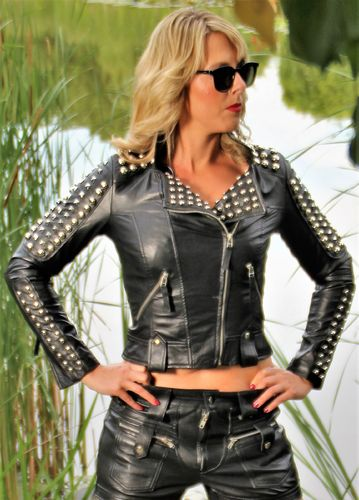 Leather Jacket - SHORT CUT Biker Style with rivets
