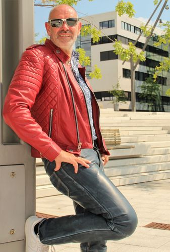 Biker Jacket Leather Jacket in dark red GENUINE LEATHER for men