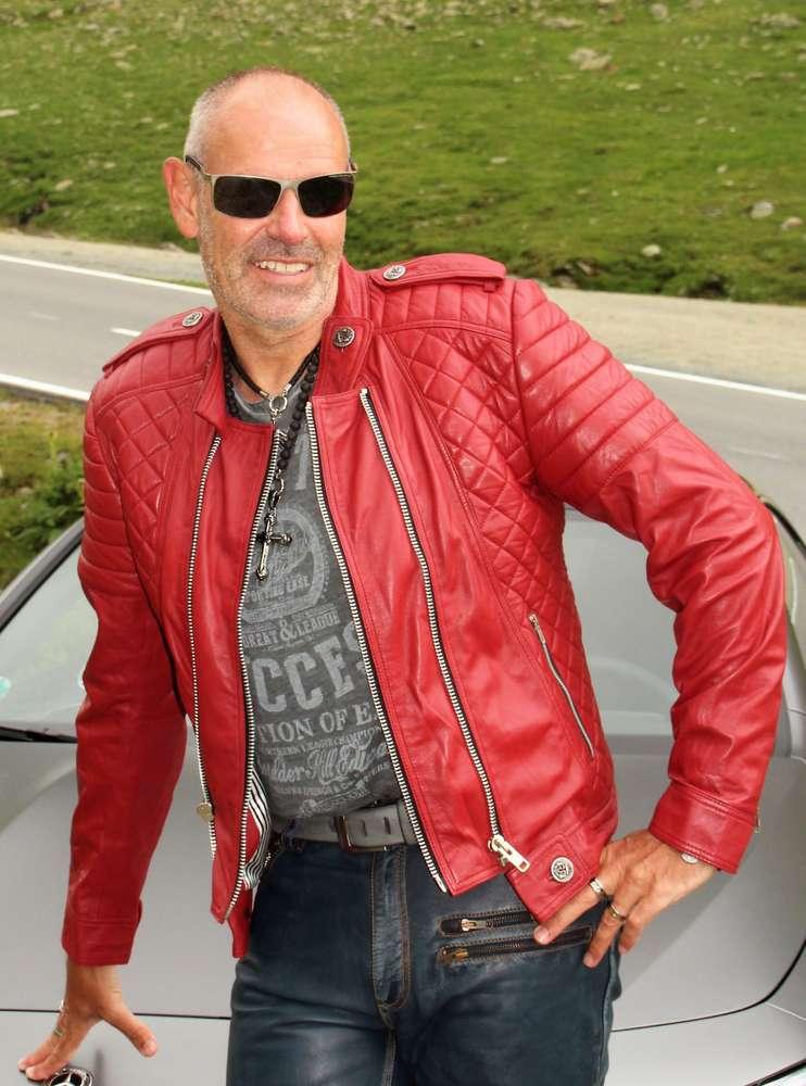 hot sale online 70a1c 1ce45 Giacca in pelle da motociclista vera pelle in ROSSO - BE NOBLE -