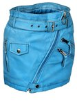 Leather mini skirt in soft genuine light blue leather