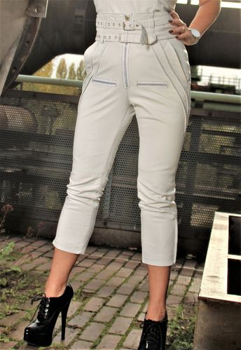 Leather trouser in GENUINE LEATHER - High waist Designer Trouser