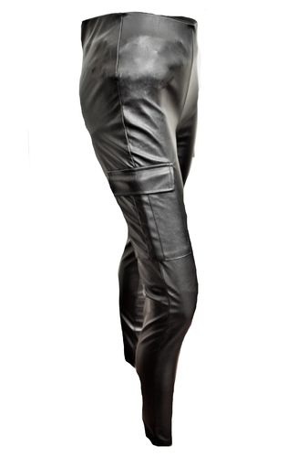 Stretch-Lederhose als hohe Taille Leder-Leggings