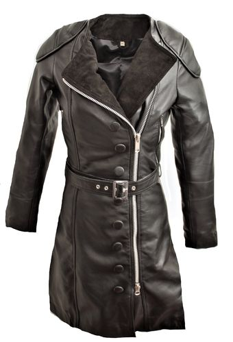 Leather coat as real leather leather dress in black