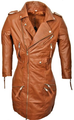 Leather dress REAL LEATHER with pockets and zippers in cognac