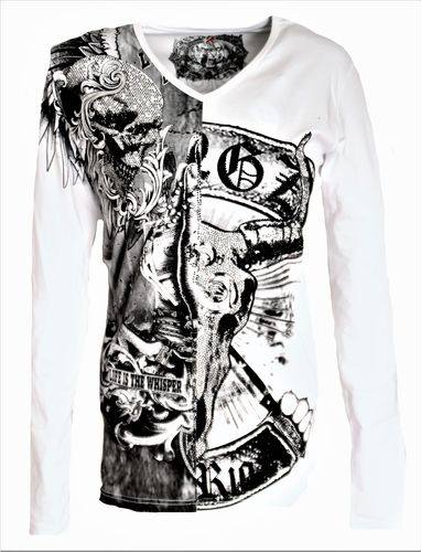 T-Shirt with skull in white silver gray