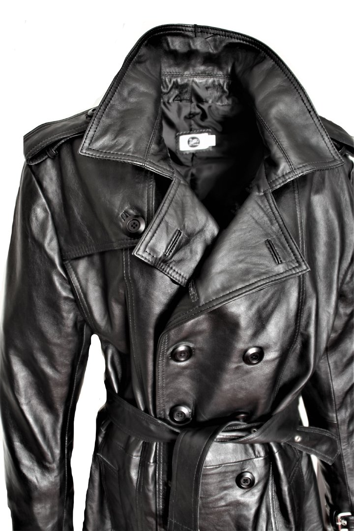 Trench coat as genuine leather leather coat black for men