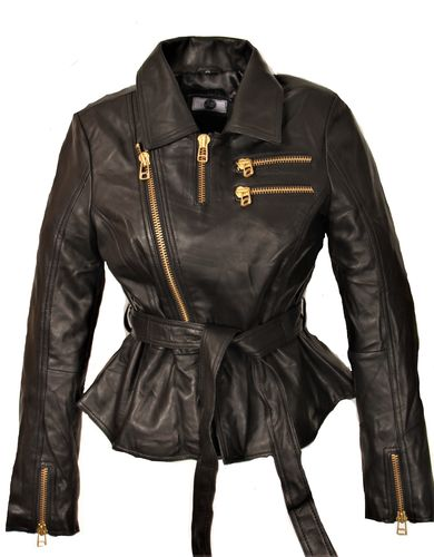 Leather Top Leather Jacket in GENUINE LEATHER With Belt