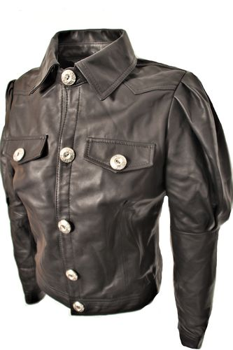 Leather blouse in REAL leather in puffed sleeves elegant in black